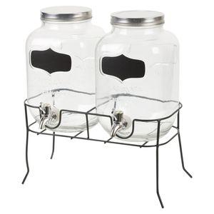 Wohaga® Getränkespender 2x4 Liter, Ø16xH26cm inkl. Zapfhahn im Landhaus Design