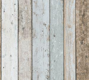 A.S. Création Tapete in Holzoptik Il Decoro Papiertapete blau braun beige 10,05 m x 0,53 m