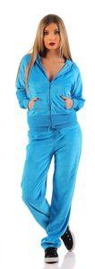 Damen Nicki Freizeitanzug Hausanzug Jogginganzug, Blau S