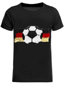 BEZLIT Jungen Wende Pailletten Deutschland Shirt mit Fussball WM 2018 Schwarz 164
