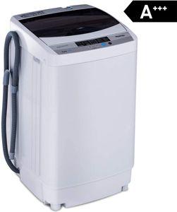 COSTWAY Waschmaschine, Waschvollautomat, Toplader, Mini Waschmaschine mit Pump, Schleuder, Display / 4,5kg / 250W-310W / 50×50×85cm, Energieklasse A+++