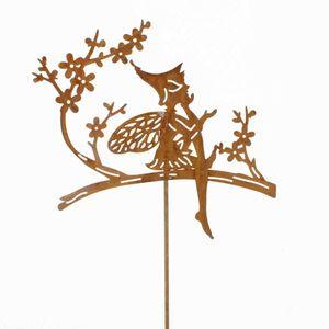 Stecker Elfe Fee auf Blumenast L55cm Metall rost o weiß Garten Deko Pick Stab, Farbe:rost