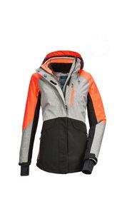 Killtec - Damen Funktionsjacke mit abzippbarer Kapuze und Schneefang, Savognin WMN Ski JCKT D (36130), Größe:42, Farbe:Grau melange (00211)