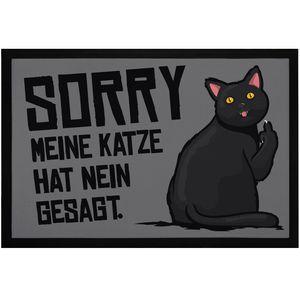 Fußmatte Sorry meine Katze hat nein gesagt Spruch lustig Mittelfinger Fuck You rutschfest & waschbar Moonworks® schwarz 60x40cm