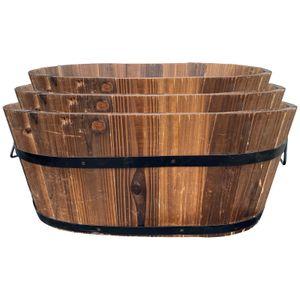 3er Set Holz Pflanzkasten | Pflanzkübel | Kräuterbeet | Pflanzkübel | Pflanzentopf | Balkonkasten | Holzkübel | Dekokasten | Dekokübel
