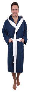 Betz Bademantel mit Kapuze PARIS 100% Baumwolle für Damen und Herren 2-farbig, Größe  M, Farbe  blau-weiß