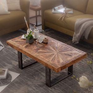WOHNLING Moderner Couchtisch Mango Massivholz 105x40x55 cm Tisch im Industrial Design | Sofatisch mit Holz und Metall | Wohnzimmertisch Rustikal