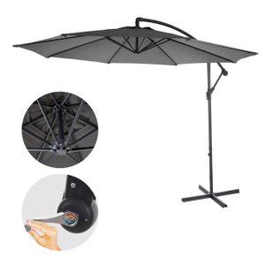 Ampelschirm Acerra, Sonnenschirm Sonnenschutz, Ø 3m neigbar, Polyester/Stahl 11kg  grau ohne Ständer