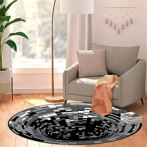 3D Teppich Optische Täuschung,Quadrat 3D Illusion Vortex,3D Teppich rund,3D Visual Illusion Rutschfester Teppich,Schwarzweiß-Stereo-Sichtmatte,Flächenteppich Runder Teppich (60x60 cm)