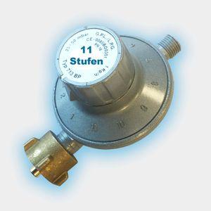 Gasregler 11-Stufen-Regler 25-50 mbar verstellbar Propan Druckminderer