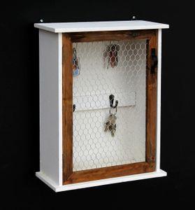Schlüsselregal Holz Weiß Briefablage Wandregal Schlüsselkasten 12045 Regal 42 cm Vintage Shabby Landhaus Küchenregal