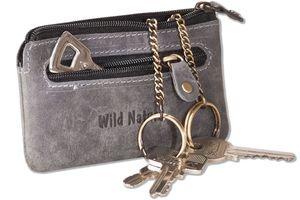 Wild Nature® Leder-Schlüsseltasche mit 2 Schlüsselketten aus weichem, naturbelassenem Büffelleder in Anthrazit/Vintage-Look