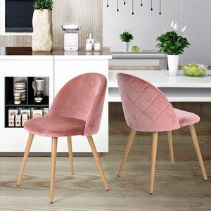 Set mit 2 rosa skandinavischen Esszimmerstühlen