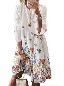 Damen Kleid mit Neun-Viertel-Ärmeln und Retro-Print und großem O-Ausschnitt,Farbe: Weiß,Größe:L