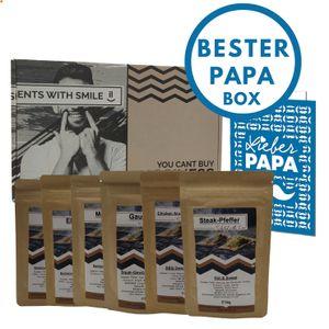 BBQ Geschenk Set für Väter INKLUSIVE GRUßKARTE I Geschenkidee für Väter Papas Grillgeschenkbox für Männer | Grill Geschenkset mit BBQ Rubs & Steak Pfeffer