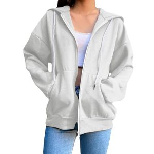 Damen Sportjacke mit Kapuze plus Fleece Slim Fit Sweatshirt-Oberteil,Farbe: Beige,Größe:L