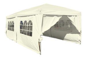Kronenburg Faltpavillon WASSERDICHT Pavillon Gartenzelt Dachmaß 3x6m UV-Schutz Champagner 6 Seiten