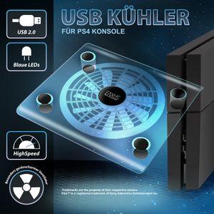 Eaxus® PlayStation 4 (Pro) USB Kühler / Lüfter und Ständer mit blauer LED Beleuchtung und transparentem Design. Überhitzungsschutz / Ventilator für Ihre PS4, PS4 Slim und PS4 Pro, auch für PS3