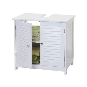 Waschbeckenunterschrank HWC-F75, Badezimmer Waschtischunterschrank Unterschrank, Staufach Landhaus 60x59x35cm weiß