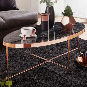 WOHNLING Design Couchtisch Marmor Optik Schwarz - Oval 110 x 56 cm mit Kupfer Metallgestell | Großer Wohnzimmertisch | Lounge Tisch