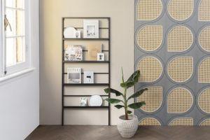 LIFA LIVING Schwarzer Zeitungshalter für die Wand, Zeitungsständer aus Metall, Dekorativer Zeitschriftenständer, Zeitschriftenhalter 171 x 75 x 4 cm