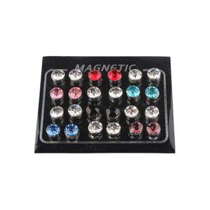 12 Stücke Gemischte Farbe Magneten Ohrringe Unisex doppelseitige Ohrstecker 7mm Mehrfarbig Magnetisch
