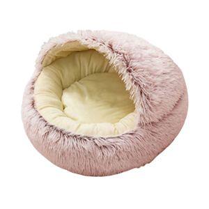 Runder Plüsch Hund Katzenbett Flauschig Warm Beruhigend Schlafen Zwinger 50cm Rosa Farbe 50cm Rosa