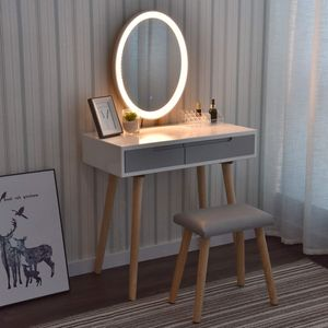 Schminktisch Hochglanz LED-Beleuchtung Kosmetiktisch Frisiertisch mit Hocker & Spiegel Oval