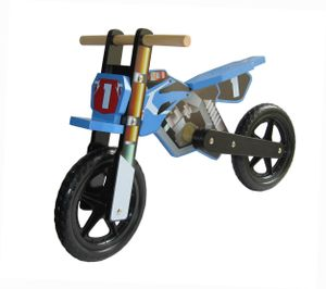 """Dunjo® Holz Laufrad """"Cross Pro"""" im Motorrad Design  Blau"""