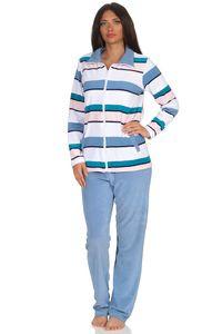 Damen Frottee Hausanzug Streifenoptik - ideal auch als Homewear - 291 216 93 145, Farbe:hellblau, Größe:40/42