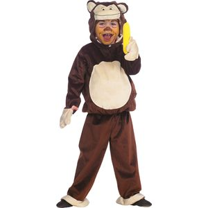 Kinder Affen Kostüm (Plüsch-Overall mit Kapuze) Größe: 128