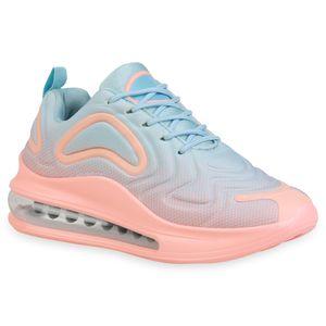 Giralin Damen Plateau Sneaker Keilabsatz Schnürer Transparente Schuhe 836349, Farbe: Hellblau Apricot, Größe: 37