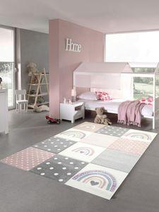 Kinderzimmer Teppich Spielteppich Regenbogen Punkte Herzchen rosa grau creme Größe - 80x150 cm