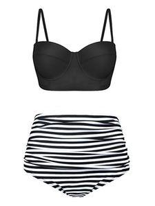 y Dance Damen Bikini Set Hoher Taille Badeanzug Zweiteiliger Strandkleidung,Farbe:Schwarzer Streifen,Größe:S