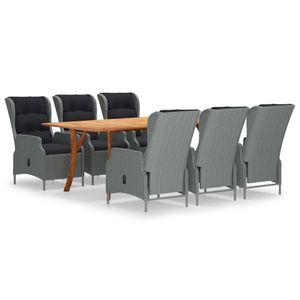 (HOME)7-tlg. Garten-Essgruppe-Bistroset-Sitzgruppe für 6 Personen Gartenmöbel-Set mit Tisch,6 Sessel, Hellgrau※ Germany