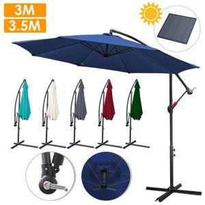 TolleTour 3m-3.5m Sonnenschirm mit LED Solar Neigbar Ampelschirm Balkonschirm Marktschirm UV40+ Gartenschirm,Blau,3.5m
