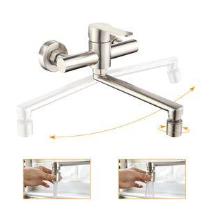 Edelstahl Wandmontage Wasserhahn Küche 360° Drehbar Küchenarmatur 2 Strahlarten Mischbatterien Armatur für Küche Einhebelmischer für Spüle