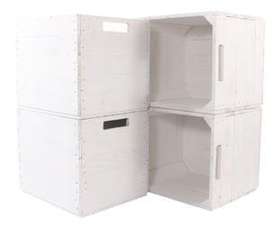 4x Hübsche, weiße Kallax Holzkiste zum Aufbewahren von Kleidung / Zeitschriften / Krimskrams, mit Filzstoppern, neu, 32x37,5x32,5cm