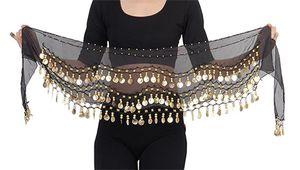Belly Dance Bauchtanz Hüfttuch Kostüm 128 goldfarbenen Münzen Münzgürtel Gürtel in schwarz