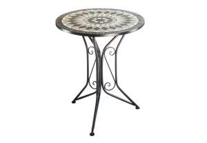 Gartentisch Metalltisch mit Mosaikplatte - H70 cm x D60 cm - grau