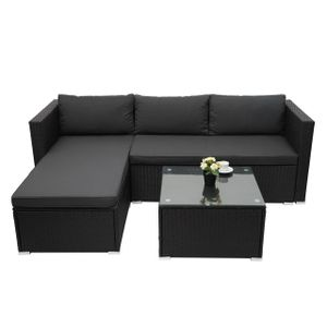 Poly-Rattan Garnitur HWC-F57, Balkon-/Garten-/Lounge-Set Sofa Sitzgruppe  schwarz, Kissen dunkelgrau ohne Deko-Kissen