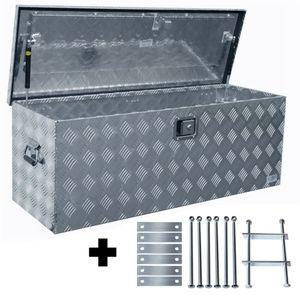 Truckbox D160 + inkl. Montagesatz MON2014 Deichselbox, Werkzeugbox, Alu Riffelblech, Transportbox, Alu Transportkiste, Anhängerkiste ca. 160 Liter