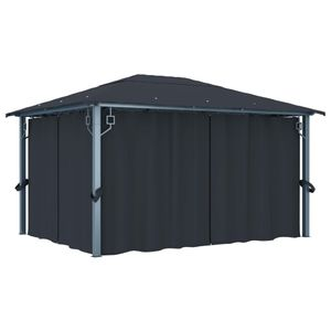 vidaXL Pavillon mit Vorhängen 400×300 cm Anthrazit Aluminium