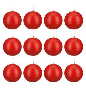 Kugelkerzen Rot, 70 mm, 12 Stück