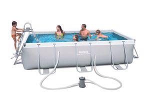 Power Steel™ Frame Pool-Set, eckig, mit Filterpumpe & Sicherheitsleiter 404 x 201 x 100 cm