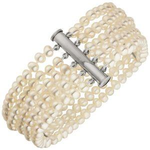 JOBO Armband 5-reihig Süßwasser Perlen und 925 Sterling Silber 19 cm Perlenarmband