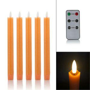 5 LED Stabkerzen Tafelkerzen mit Echtflamme, Fernbedienung und Timer aus Echtwachs - Apricot