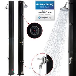 AREBOS Solardusche 35 L schwarz mit Thermometer