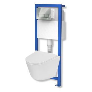 Domino Lavita Vorwandelement inkl. Drückerplatte + Galve Wand-WC ohne Spülrand + WC-Sitz mit Soft-Close Absenkautomatik Drückerplatte: RC (chrom)