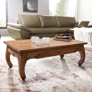 FineBuy Couchtisch Massiv-Holz 110 cm breit Wohnzimmer-Tisch Design dunkel-braun Landhaus-Stil Beistelltisch, Nachbildung/Front:Sheesham